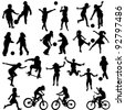 Group of active children, hand drawn silhouettes of kids playing - stock photo