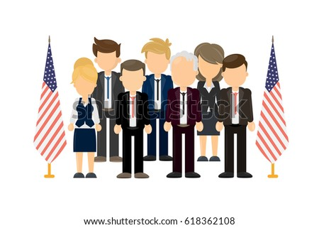 Group of american politicians standing on white background with american flags.
