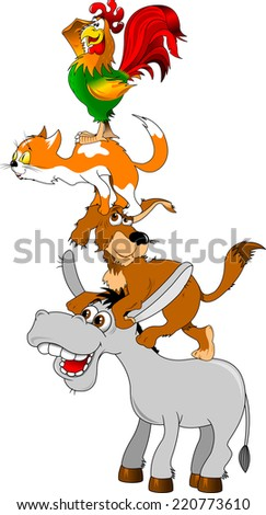 group of animals facing each other, the Bremen Town Musicians - stock vector