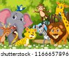 group of animals in jungle...