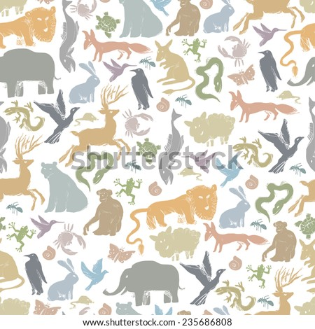 Group of Animals Silhouettes. Zoo Seamless Pattern - stock vector