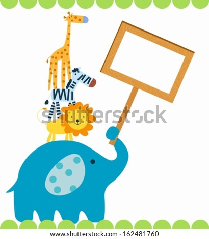 Group of animals with banner - stock vector