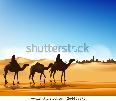 Group of Arab People with Camels Caravan Riding in Realistic Wide Desert Sands in Middle East Going to a City. Editable Vector Illustration - stock vector