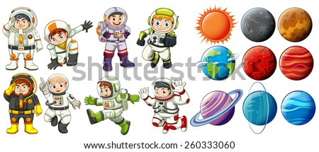 Group of astronauts and the planets on a white background - stock vector