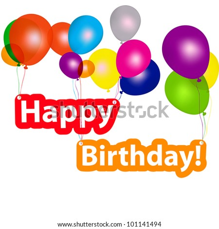 group of balloons with the words happy birthday. vector illustration - stock vector