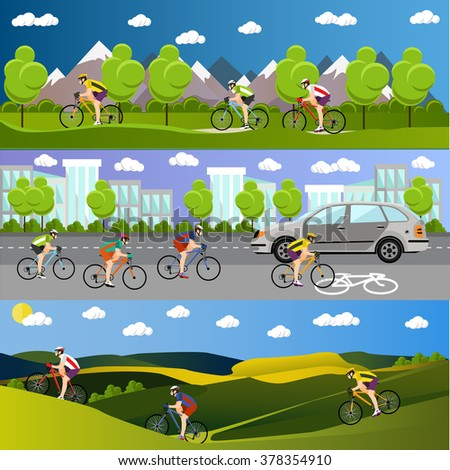 Group of bicycle riders on bikes in mountains, city road and park. Biking sport concept cartoon banners. Vector illustration in flat style design. - stock vector