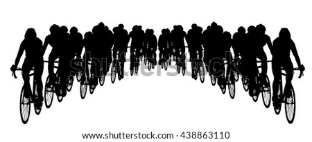 Group of bicyclists in race riding a bicycle isolated against white background silhouette vector illustration. Sport tourist company friends on bicycles . Silhouette people, mountainbike. Friendship. - stock vector