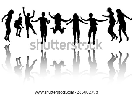 Group of black children silhouette jumping - stock vector