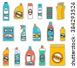 Group of bottles of household chemicals, supplies and cleaning. Simple flat icons set. Design concepts for web banners, web sites, printed materials, info-graphics - stock vector