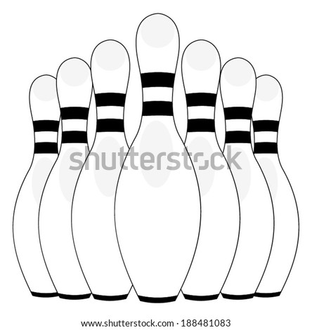 Group of bowling pins at the end of a bowling alley, skittles. vector art image illustration, eps10, isolated on white background, outline