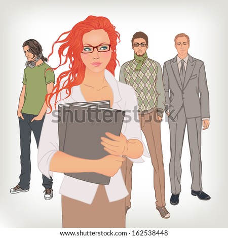 Group of business and office people. Vector illustration. - stock vector