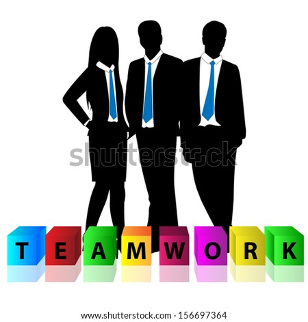 Group of business man and business woman with colorful cube box and word teamwork - stock vector