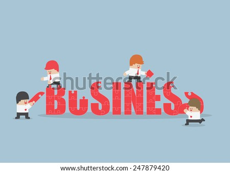 Group of business people assembling jigsaw puzzle of business word, VECTOR, EPS10 - stock vector