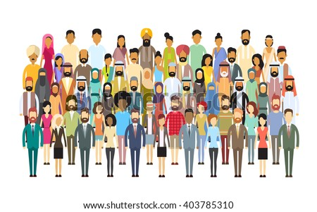 Group of Business People Big Crowd Businesspeople Mix Ethnic Diverse Flat Vector Illustration - stock vector