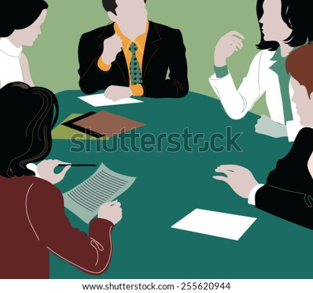 Group of business people brainstorming together in the meeting room - stock vector