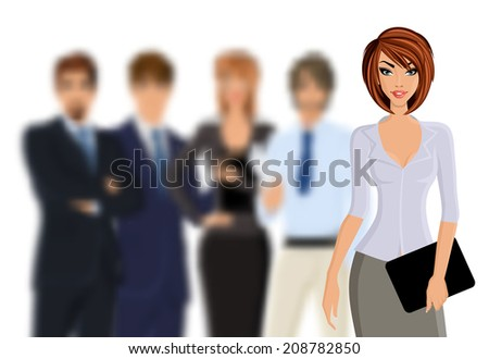 Group of business people busines woman with business team isolated on white vector illustration - stock vector