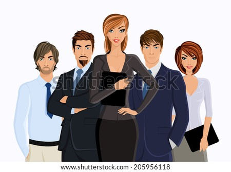 Group of business people busines woman with team isolated on white vector illustration - stock vector