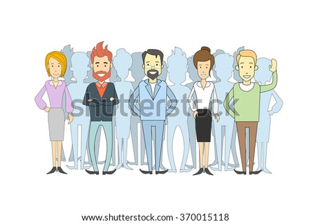 Group of Business People Casual Crowd Man and Woman Vector Illustration - stock vector