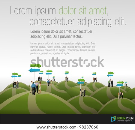 Group of business people choosing the right path. Multiple options. - stock vector