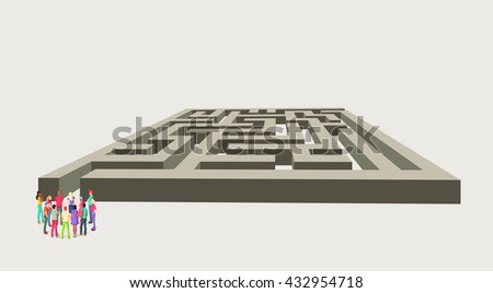 Group of business people choosing the right way of a maze. Multiple options.  - stock vector