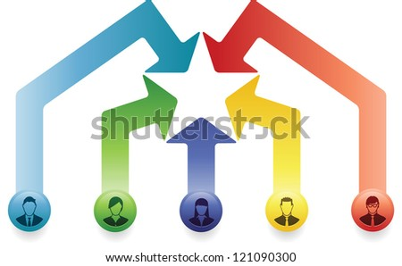 Group of Business People coming together to form an All Star Team - stock vector