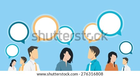 Group of business people communicating with speech bubbles - stock vector