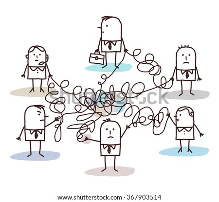 group of business people connected by messy lines - stock vector