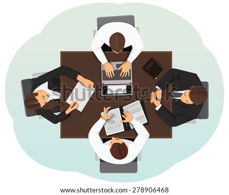 Group of business people discussing at the desk. Top view. - stock vector