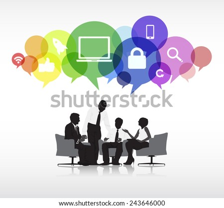 Group of business people discussing in a white background with colorful speech bubbles above containing social networking symbols. - stock vector