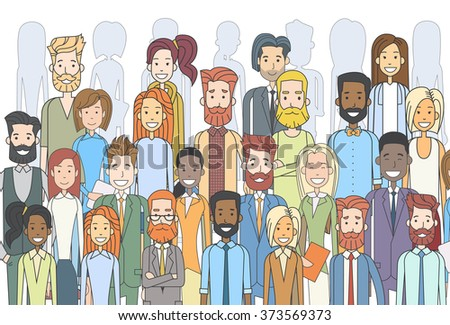 Group of Business People Face Big Crowd Businesspeople Diverse Ethnic Vector  Illustration