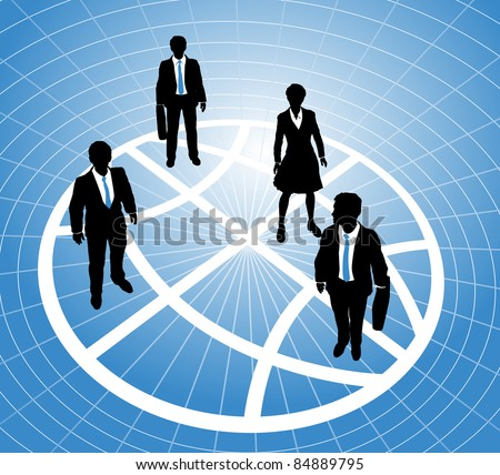 Group of business people stand on a sectors or zones of a world globe symbol grid - stock vector
