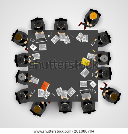 Group of business people working in office. Vector illustration - stock vector