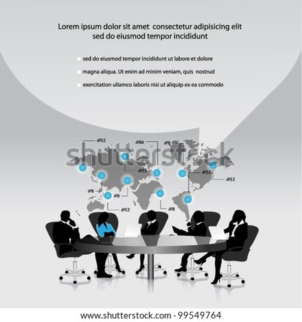 group of business people working in office with world map.vector - stock vector