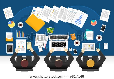 Group of business people working. Teamwork of business people concept. - stock vector