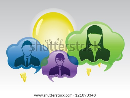 Group of business team members and finds inspiration. This is represented by the lightbulb rising above the clouds - stock vector