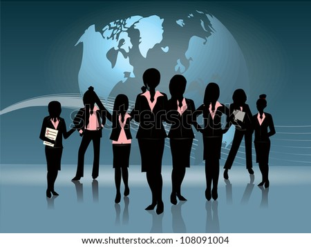 group of business woman silhouette globe background - stock vector
