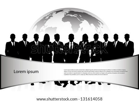 group of businessmen against a planet with a banner - stock vector