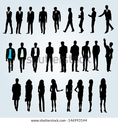 Group of businessmen and businesswomen - stock vector