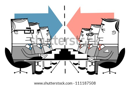 Group of businessmen at meeting - stock vector