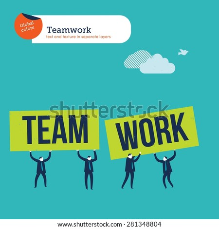 Group of businesspeople with banners team work. Vector illustration Eps10 file. Global colors. Text and Texture in separate layers. - stock vector