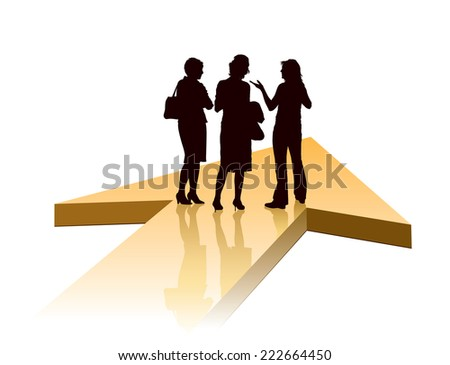 Group of businesswomen standing on a large orange arrow  - stock vector