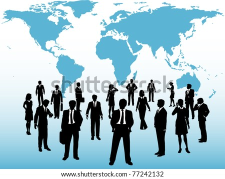 Group of busy global business people silhouettes connect under world map - stock vector