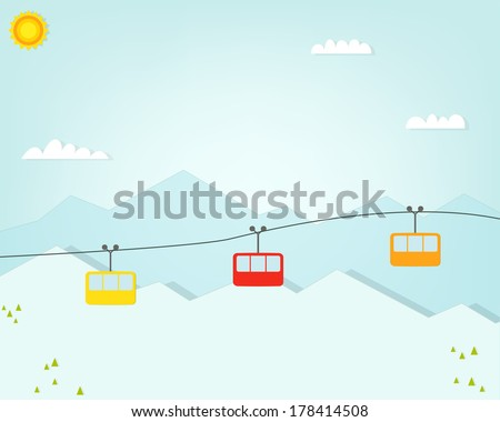 Group of cable car cabins in mountains - stock vector