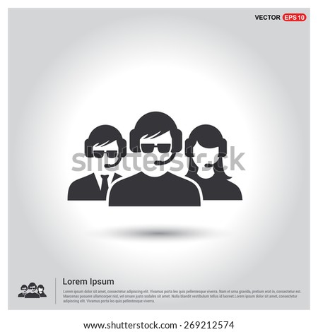 Group of call center operators wearing headsets. Call center icons. support group. User Icon. Users Icon. support team group. Flat style design Pictogram icon. - stock vector