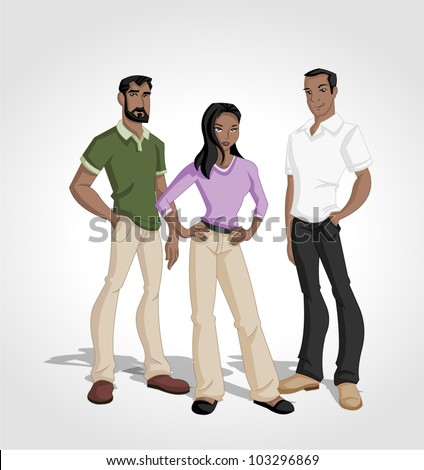 Group of cartoon black people