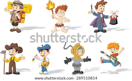 Group of cartoon boys wearing different costumes - stock vector