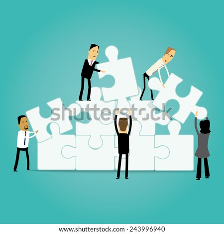 Group of cartoon business people assembling a jigsaw puzzle - stock vector