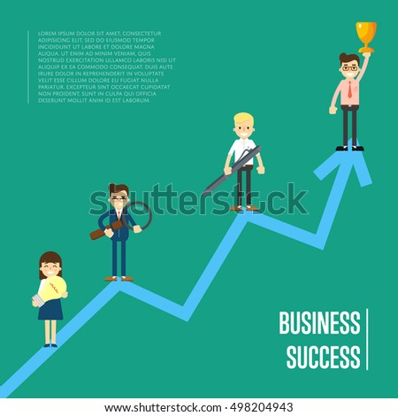 Group of cartoon business people standing on arrow graph, isolated vector illustration on green background. Business success concept. Teamwork and corporate profit with statistical trend. Win concept