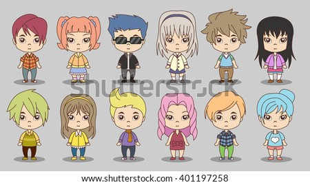 Group of cartoon children. Manga anime teenagers.