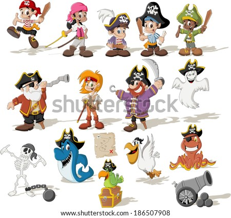 Group of cartoon pirates with funny animals. - stock vector